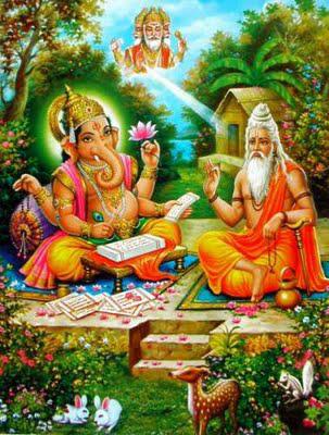 Yogaweekend met Lydwina Meerman in Friesland 1-3 juni 2012 _ de Heilige Vyasa dicteert de Mahabarata aan Ganesha geïnspireerd door Vishnu _