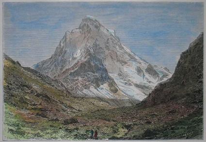 Shivlinga _Himalaya _ oude lithografie _